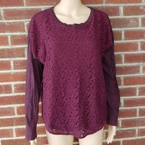 LOFT Heathered Burgundy Long Sleeve w/Crochet